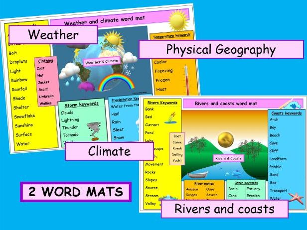* 1. Weather and climate 2. Rivers and coasts - vibrant literacy  WORD MATS -2 resources ks1 ks2 ks3