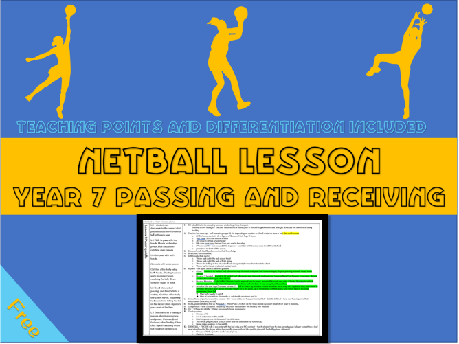 Netball lesson plan - Passing and receiving (year 7)