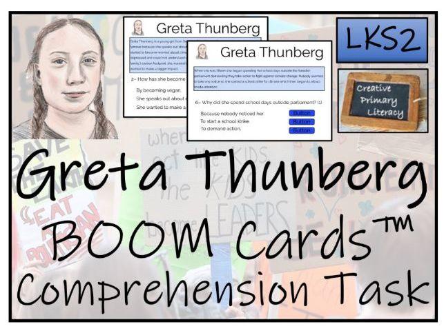 Greta Thunberg - LKS2 BOOM Cards™ Comprehension Activity
