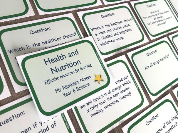 Year 6 Quiz Cards - Health and Nutrition