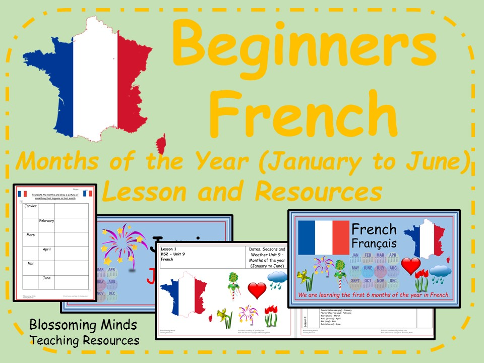French Lesson and Resources - KS2 - Months of the Year