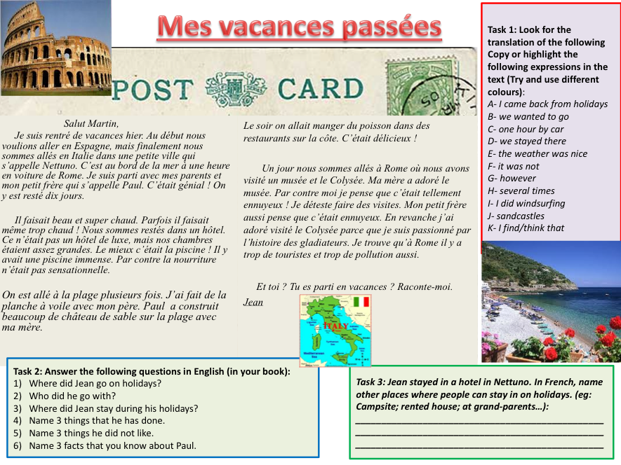 Booklet for FCSE French preparation_Holidays