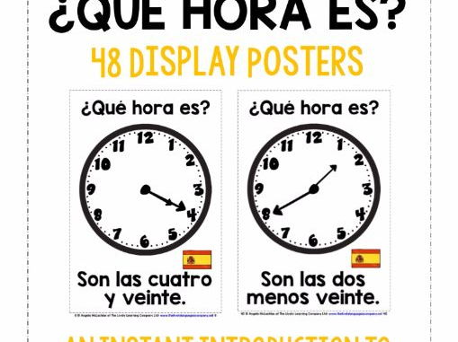 SPANISH TELLING THE TIME (3) - 48 POSTERS PACK - 20 & 25 PAST AND 25 & 20 TO THE HOUR