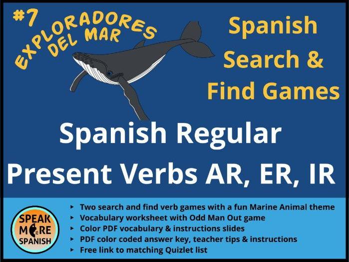 Juego de Verbos y Vocabulario en español - Presente de Verbos Regulares *Spanish Regular Present