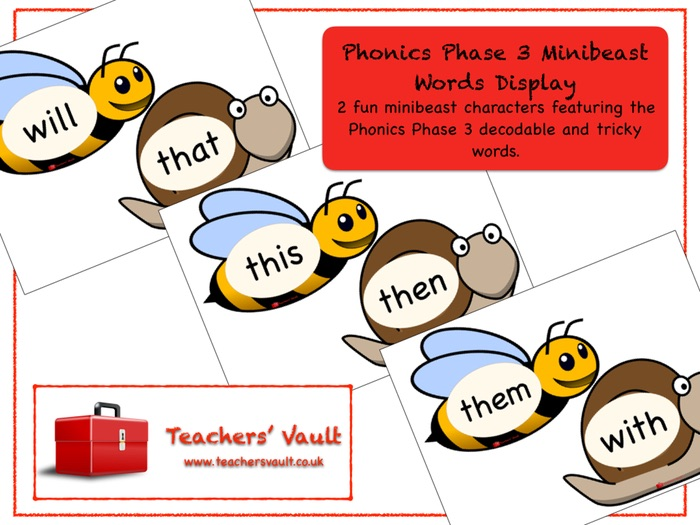 Phonics Phase 3 Minibeast Words Display