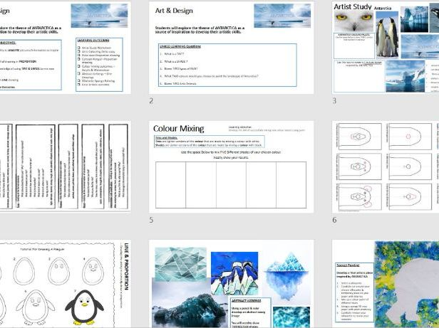 Art Project - Antarctica Themed - Ideal Cover Lessons / Short Project - 7-8  Lesson Tasks