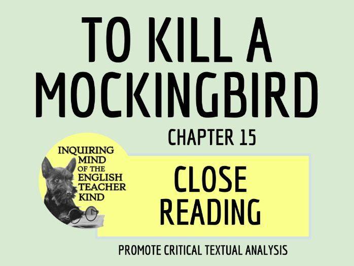 To Kill a Mockingbird Close Reading Worksheet - Chapter 15
