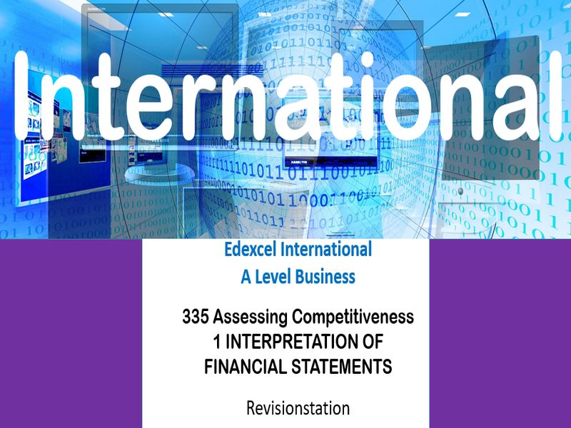 Pearson Edexcel International A Level Business (335) 1 Interpretation of financial statements
