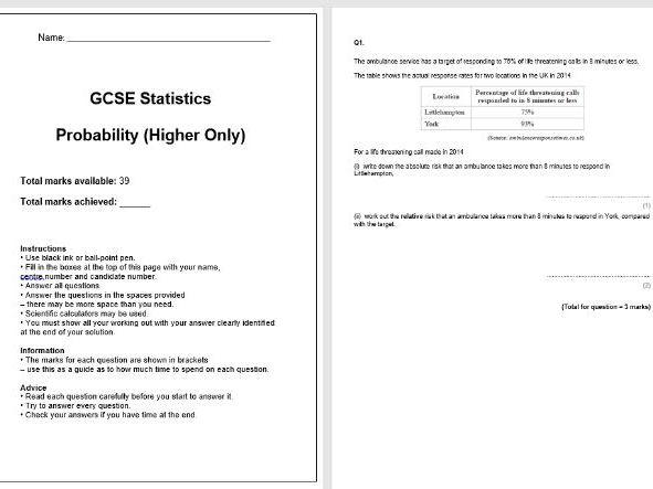 Probability Exam Questions (GCSE Statistics)