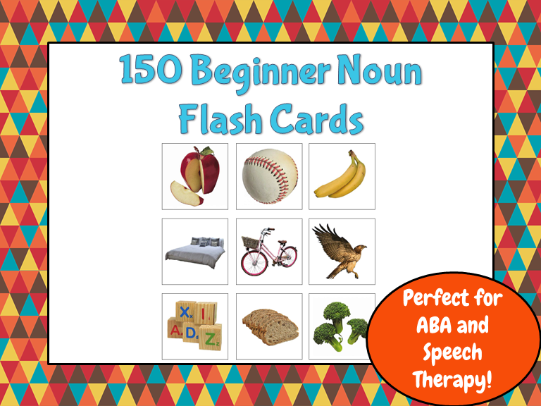 150 Common Noun Flash Cards (Great for ABA, Autism)