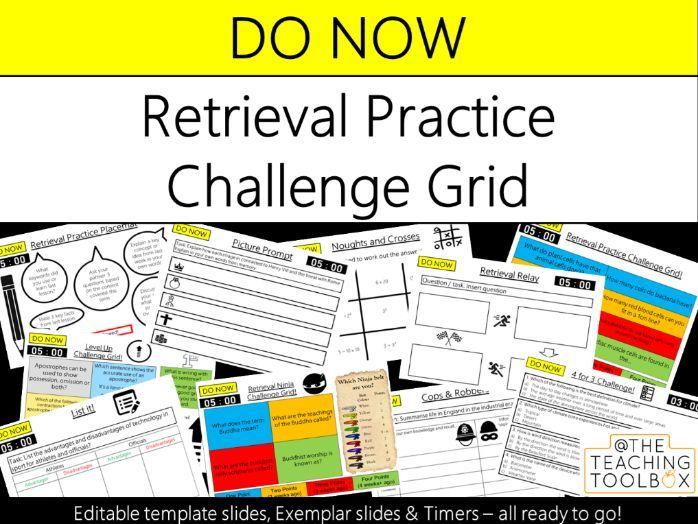Do Now Retrieval Practice - Retrieval Practice Challenge Grid