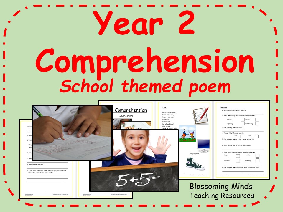 Year 2 poetry comprehension - School themed