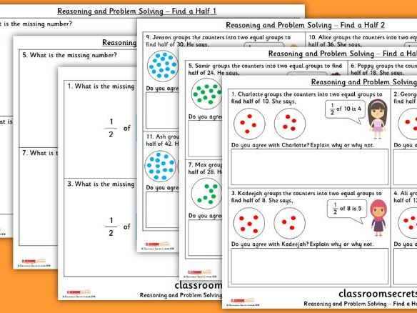 Year 2 Find a Half Spring Block 4 Reasoning and Problem Solving Pack