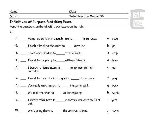 Infinitives of Purpose Matching Exam