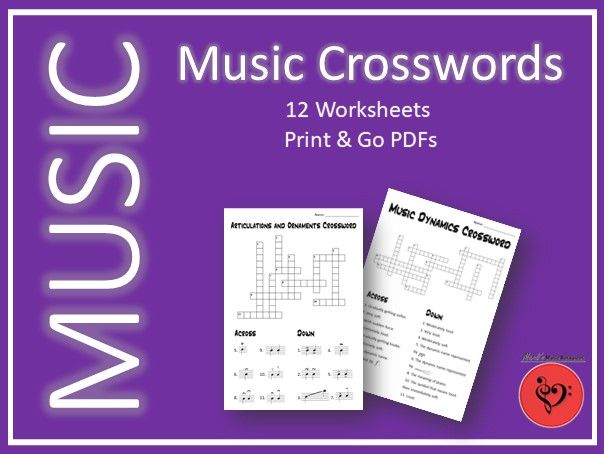 12 Music Crossword Puzzles - Print & Go PDFs