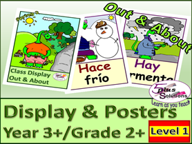 51 PRIMARY SPANISH GRADE 3+/GRADE 2+ FLASHCARDS/POSTERS: Clothes, weather, seasons