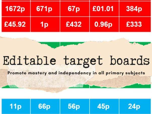 Editable target boards