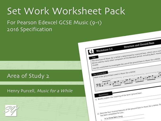 Worksheet Pack for Pearson Edexcel GCSE Music (2016 Specification) - Area of Study 2, Set Work 3
