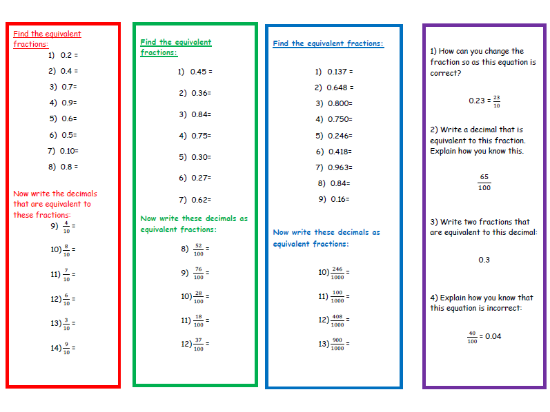 A Worksheet on Converting Decimals into Fractions