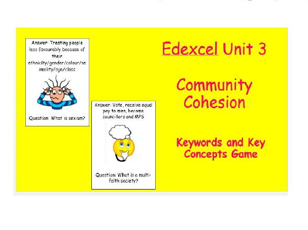 Edexcel Christianity Community Cohesion Keywords and Key Concepts Game