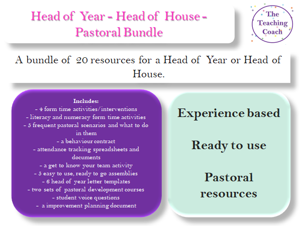 Head of Year - Head of House - Pastoral Bundle - New Starter Pack