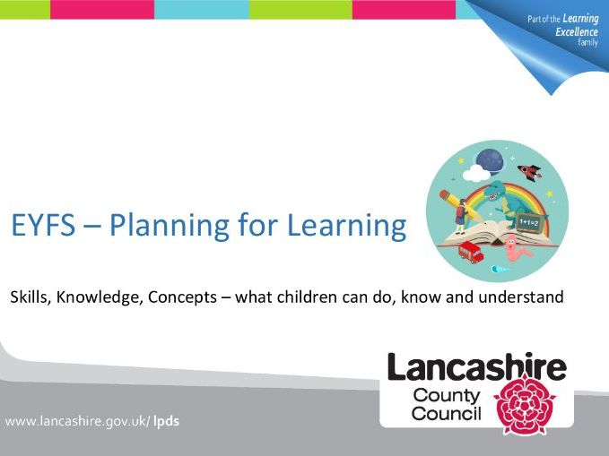 EYFS – Planning for Learning. Skills, Knowledge, Concepts – what children can do, know & understand.