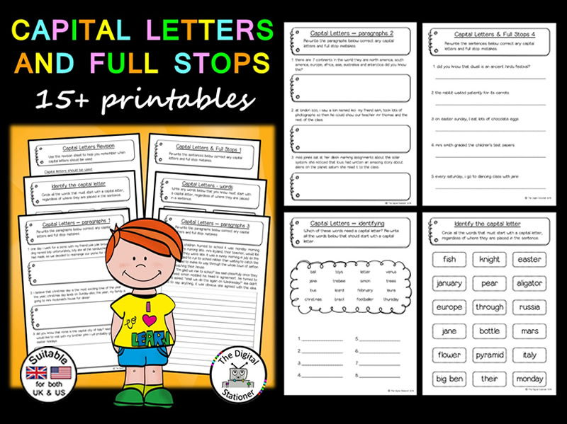 Capital Letters & Full Stops - Literacy - 15+ printables