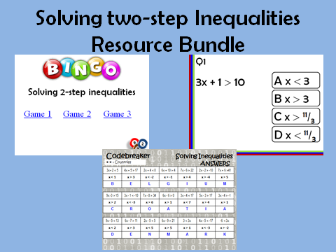 Solving two-step Inequalities: 3 resources