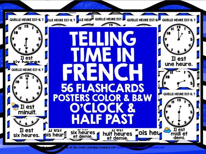 ELEMENTARY FRENCH TELLING TIME O'CLOCK & HALF PAST FLASHCARDS