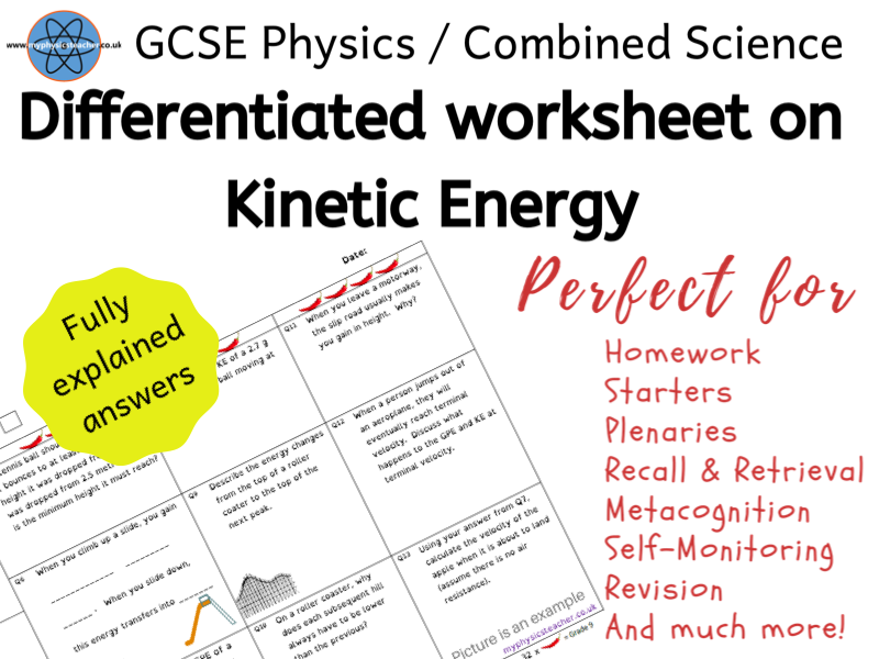 Kinetic Energy, mass, velocity - GCSE Physics or Combined Science Differentiated Equation Worksheet