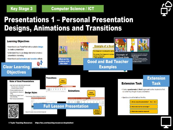 Presentation Essentials 1 - Designs, Animations and Transitions -Key Stage 3 Full Lesson