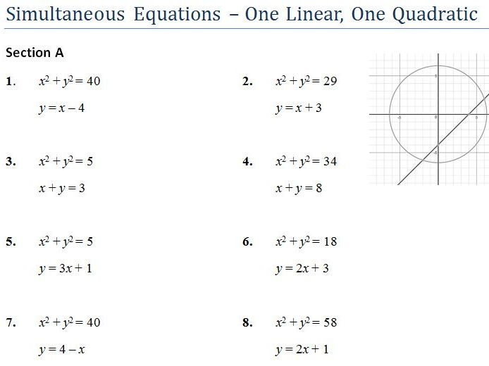 Simultaneous Equations One Quadratic GCSE Worksheet and Powerpoint