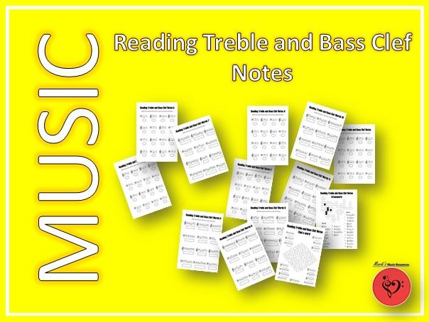 Reading Treble and Bass Clef Notes - 13 Printable and Digital Worksheets