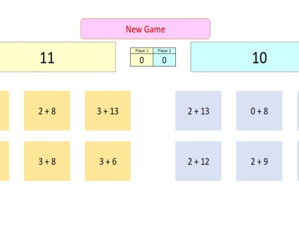 Interactive Addition Game for Whiteboard Use