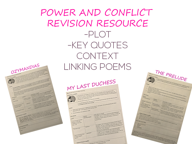 GCSE POWER AND CONFLICT POETRY REVISION RESOURCE ON ALL 15 POEMS (QUOTES,ANALYSIS,LINK)