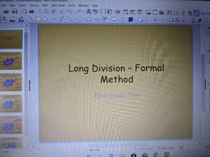 Long Division- Formal method- pp