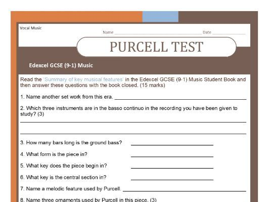 MUSIC EDEXCEL GCSE (9-1)  Purcell test