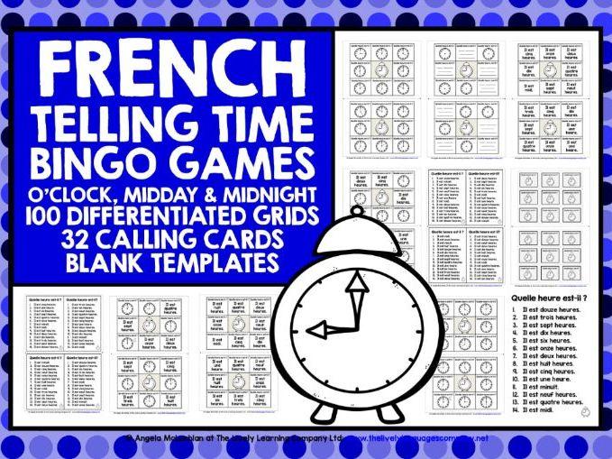 PRIMARY FRENCH TELLING TIME BINGO O'CLOCK
