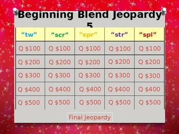 Beginning Blends (tw, scr, spr, str, spl) Jeopardy Power Point #5