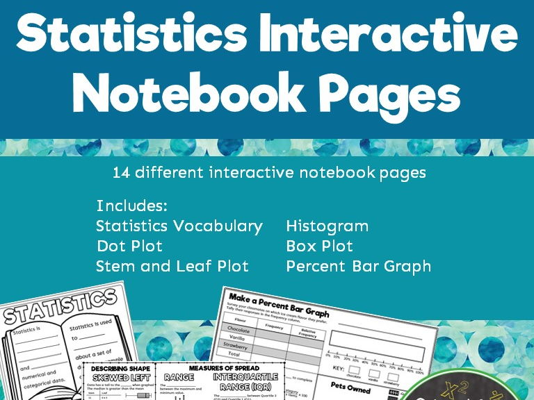 Types of Graphs and Statistics Math Notebook Pages