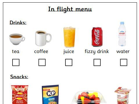 EYFS Airport Role Play - In Flight Menu - Reading Opportunity