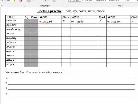Spelling worksheets yr 3/4