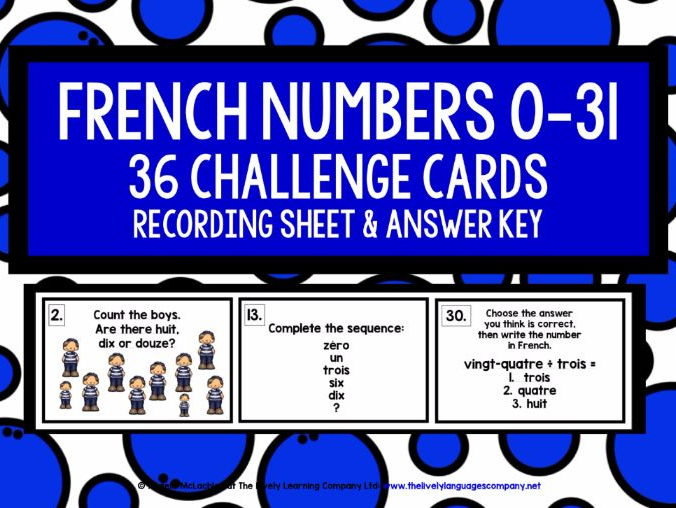 FRENCH NUMBERS 0-31 CHALLENGE CARDS