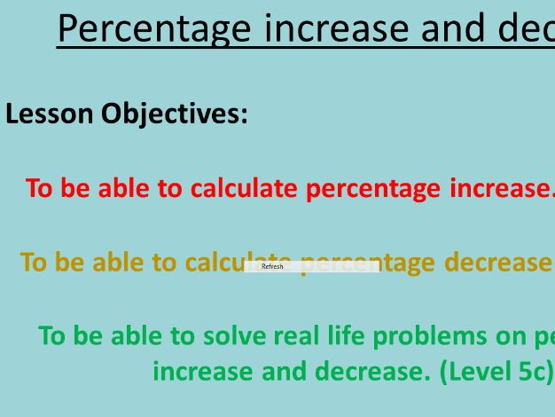 Percentage Increase and Decrease (Differentiated)