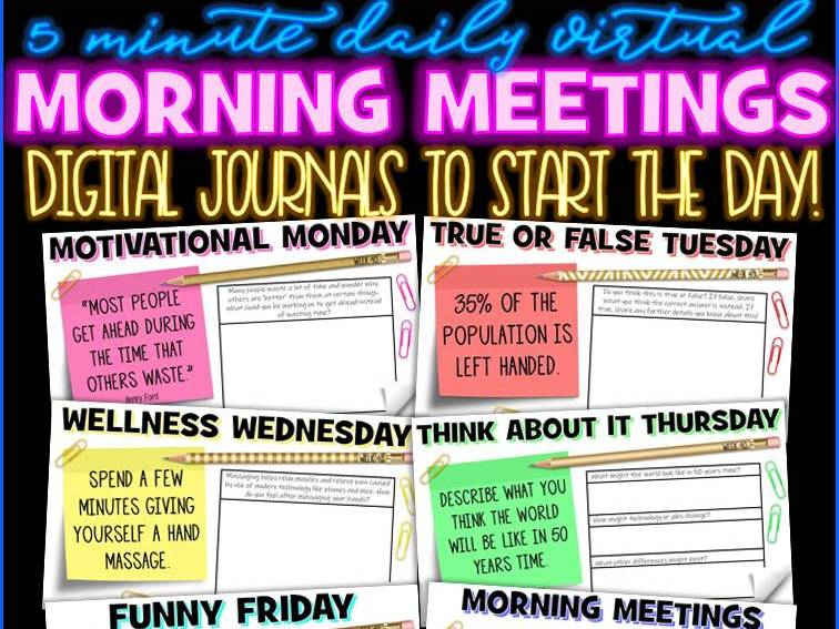 Tutor Time Daily Morning Meeting Messages Digital Journal [1 YEAR]