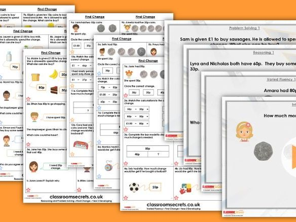Year 2 Find Change Autumn Block 3 Step 9 Lesson Pack