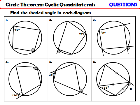 Circle Theorem - Cyclic Quadrilaterals