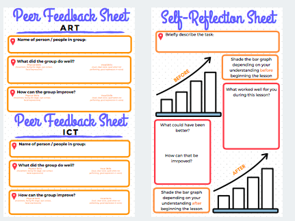 Peer Feedback and Self Reflection Template Sheets