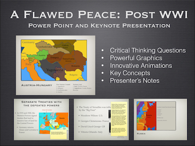 "World War I ""A Flawed Peace"" 1918-1919 Power Point and Keynote Presentations"