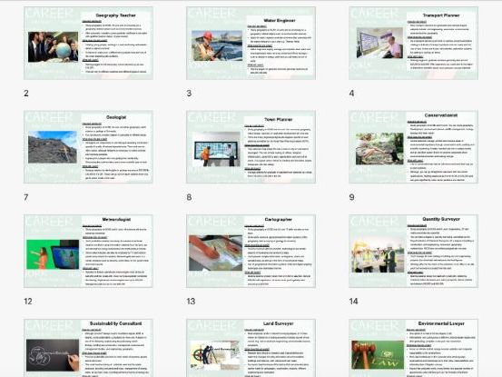 Geography Careers Information Slides